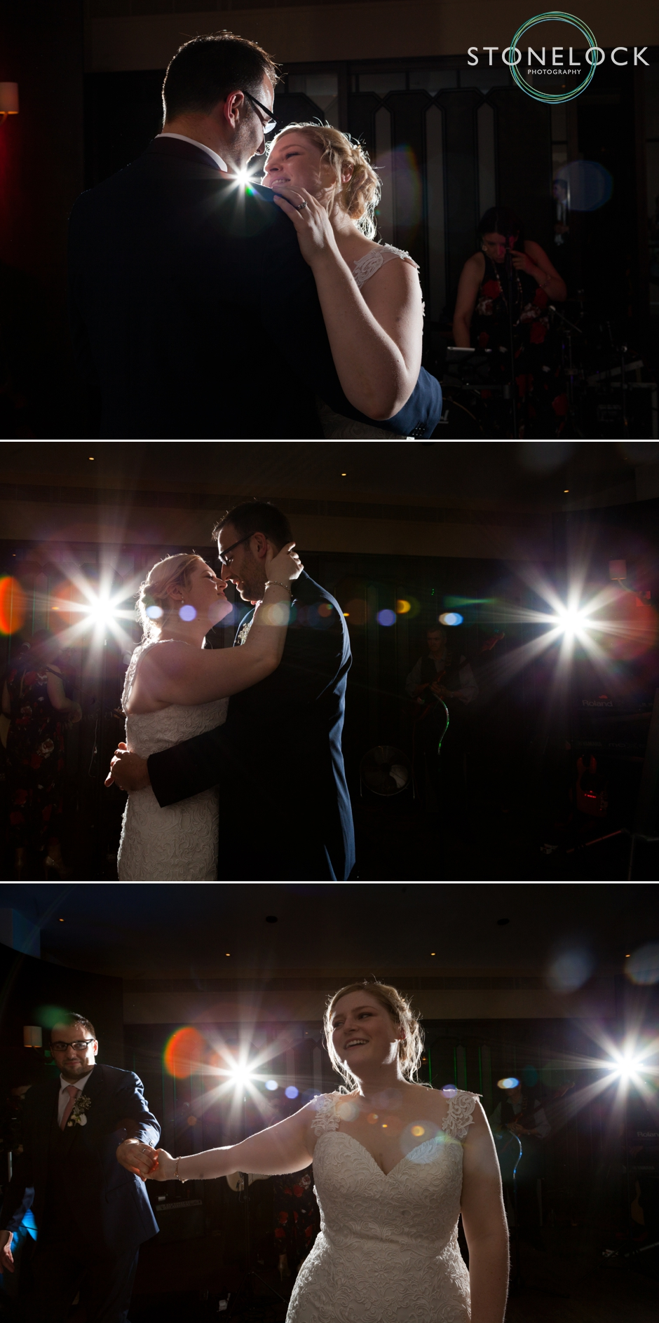 The bride & groom's first dance at their wedding reception at Devonshire Square in Bishopsgate, London