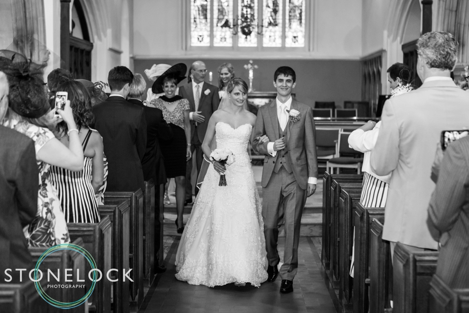 Wedding ceremony at St Mary the Virgin Church in Horsell Village, Surrey