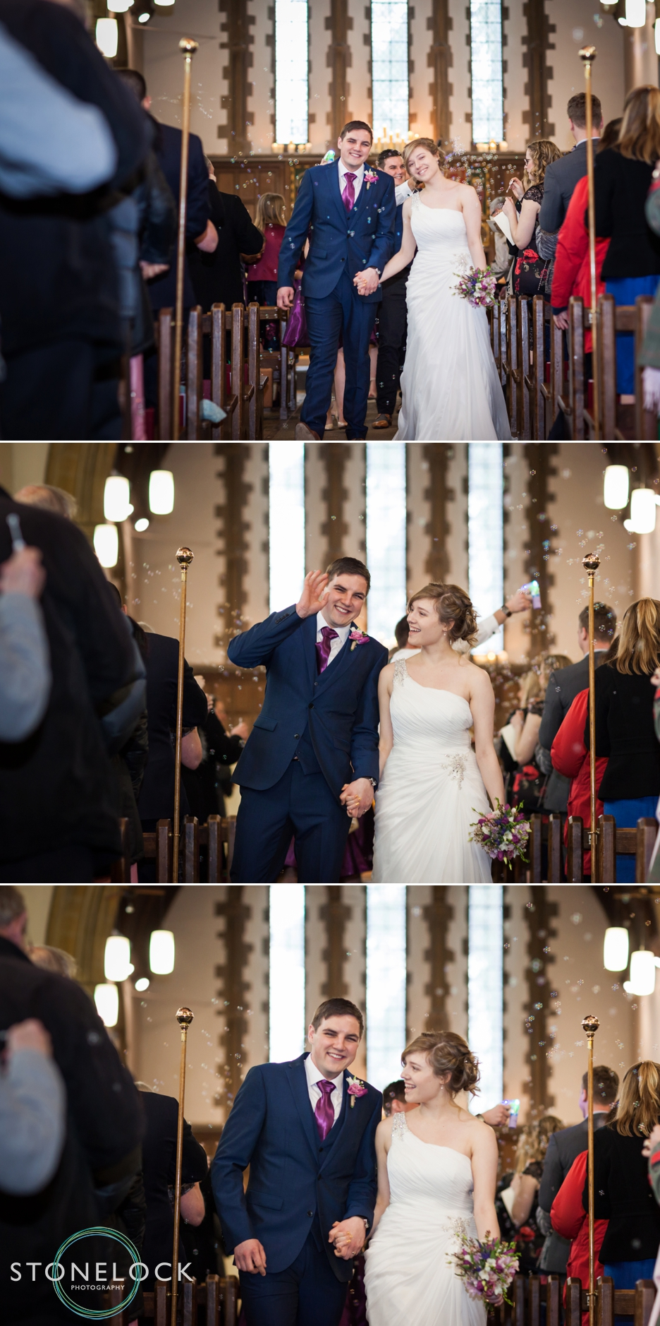 St Johns the Baptist Church in Hampshire, wedding ceremony, the bride & groom leave the ceremony