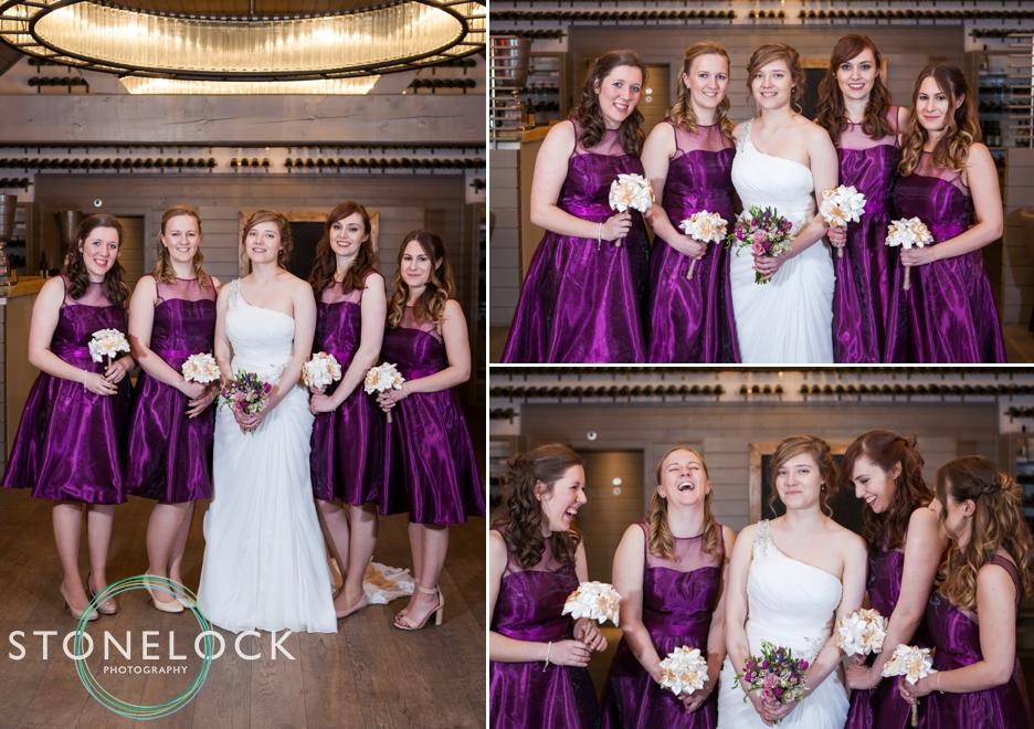 Bridal party photograph at Three Choirs Vineyard in Wickham, Hampshire