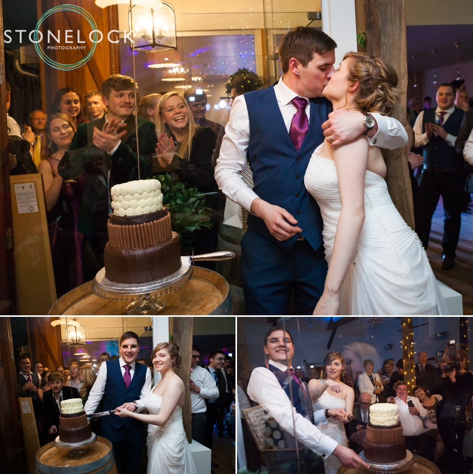Wedding reception at Three choirs Vineyard in Wickham, Hampshire, the wedding cake!