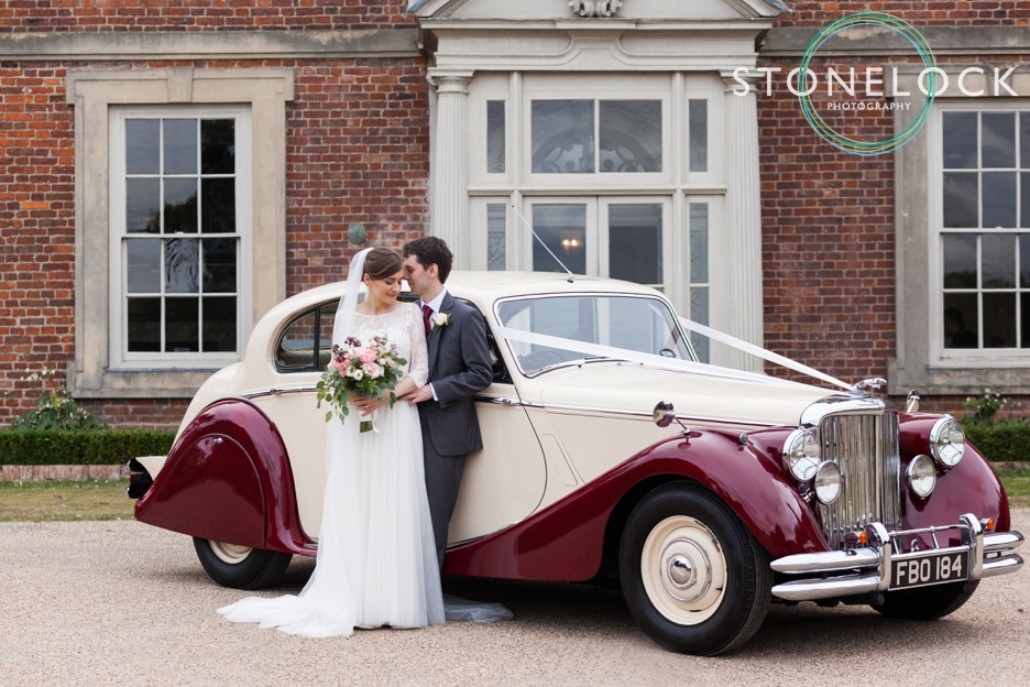 Forty Hall, Enfield, London wedding photography, the bride & groom with their classic wedding car