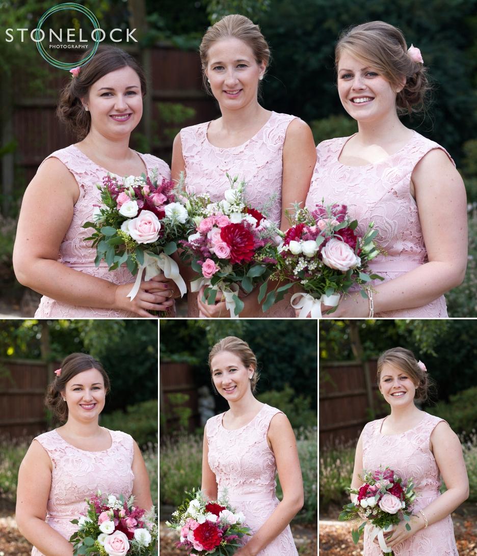 Bridesmaids portraits in her garden in Enfield, London, before her wedding