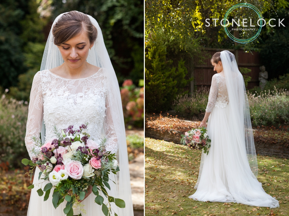 Bride portraits in her garden in Enfield, London, before her wedding