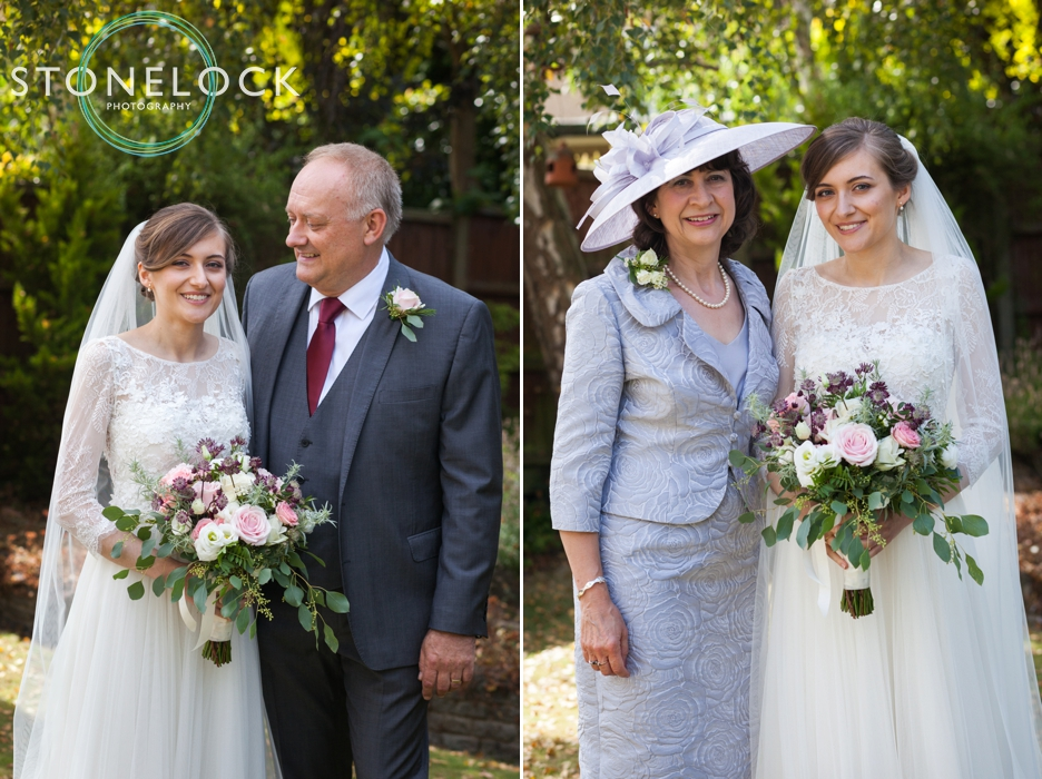 Bride portraits with her parents in her garden in Enfield, London, before her wedding