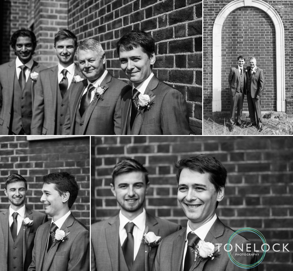 Groom and his ushers outside Enfield Baptist Church before his wedding