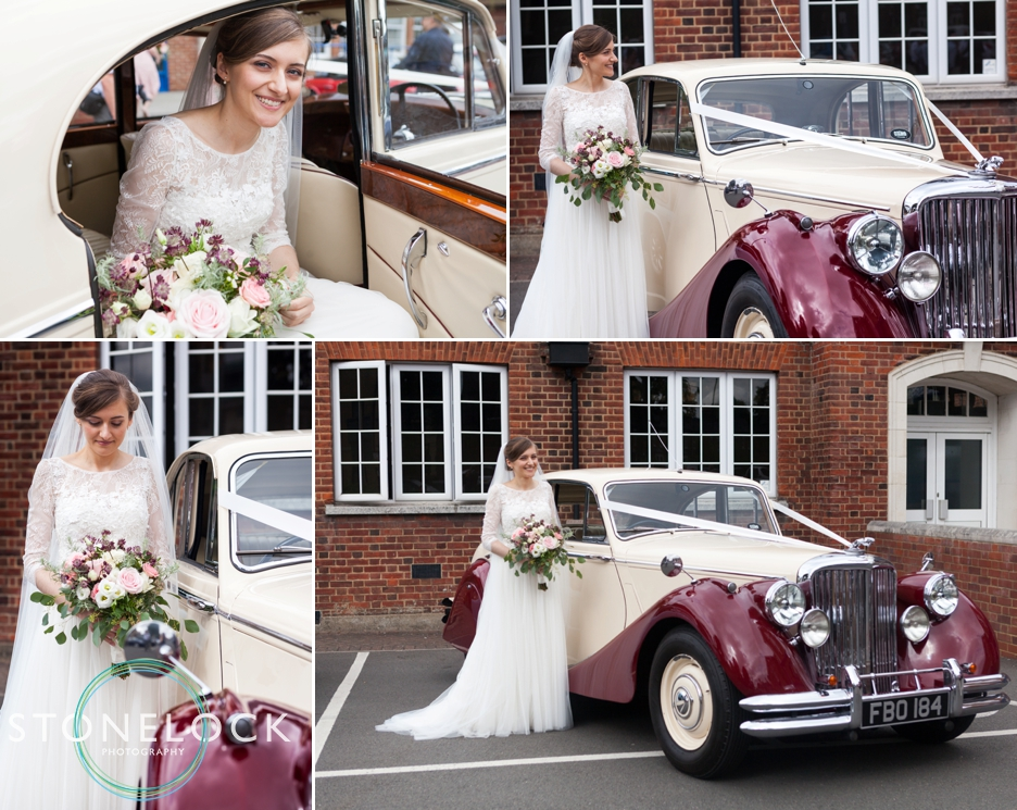 Bride arrives at Church in her Dad's classic wedding car