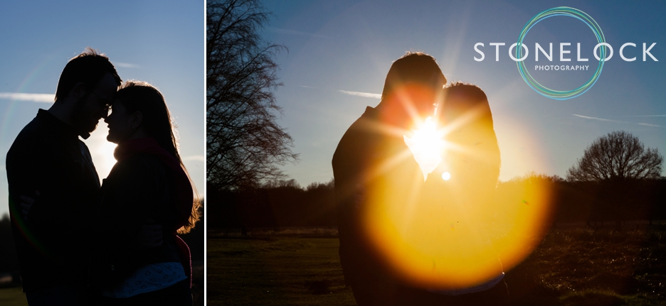 Richmond Park, London, Spring engagement shoot at sunset