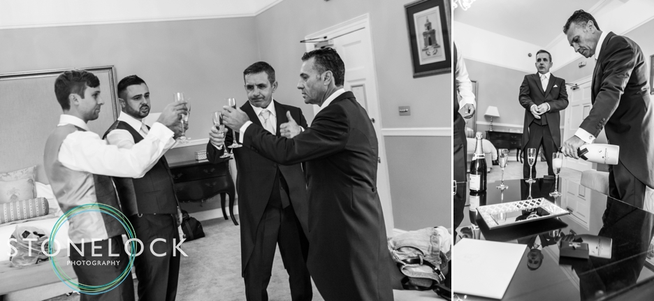 Farnham Castle, Surrey, Wedding photography, the groom & his groomsmen drink champagne