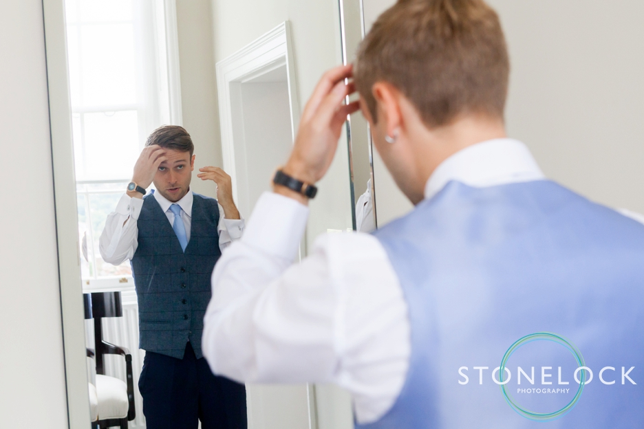 Farnham Castle, Surrey, Wedding photography, the groom getting ready