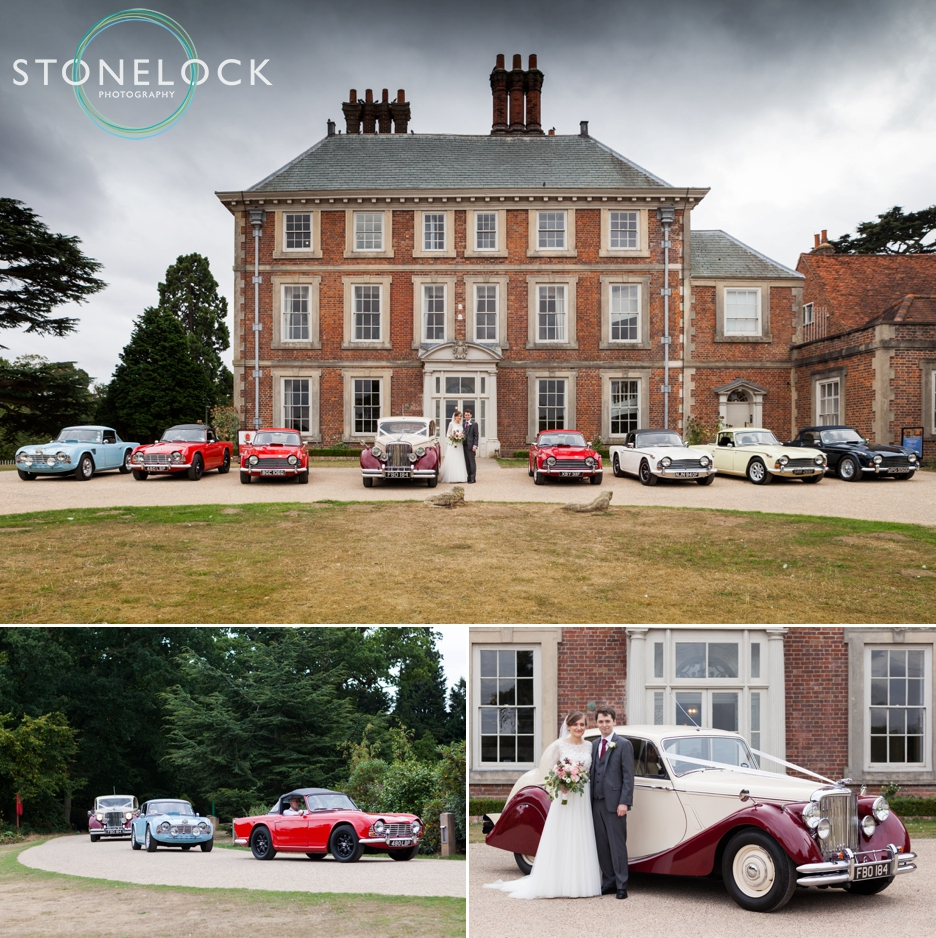 Classic cars line up puts ode at a wedding at Forty Hall in Enfield