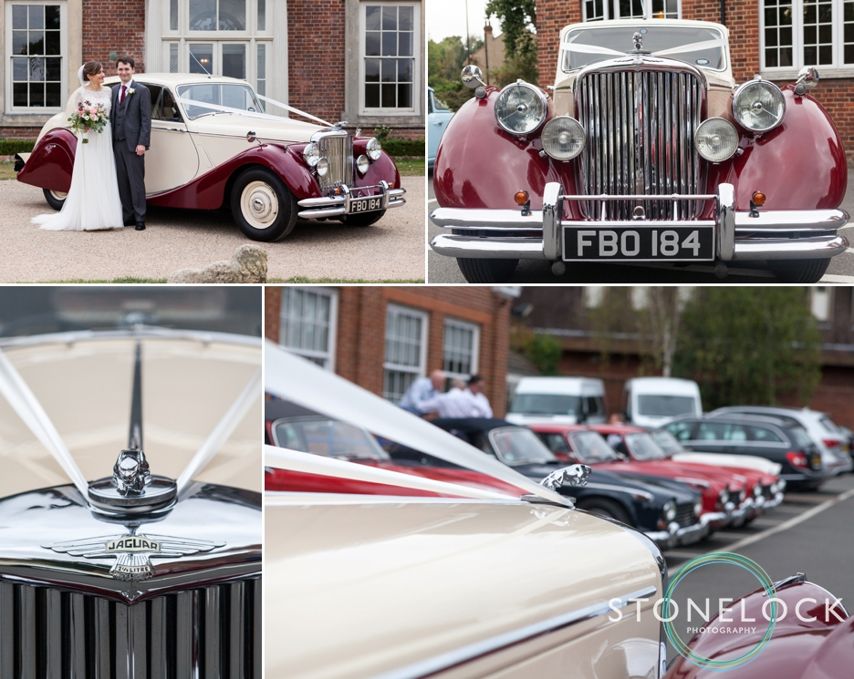 Bride and groom arrive at Forty Hall for their wedding reception in her Dad's classic wedding car