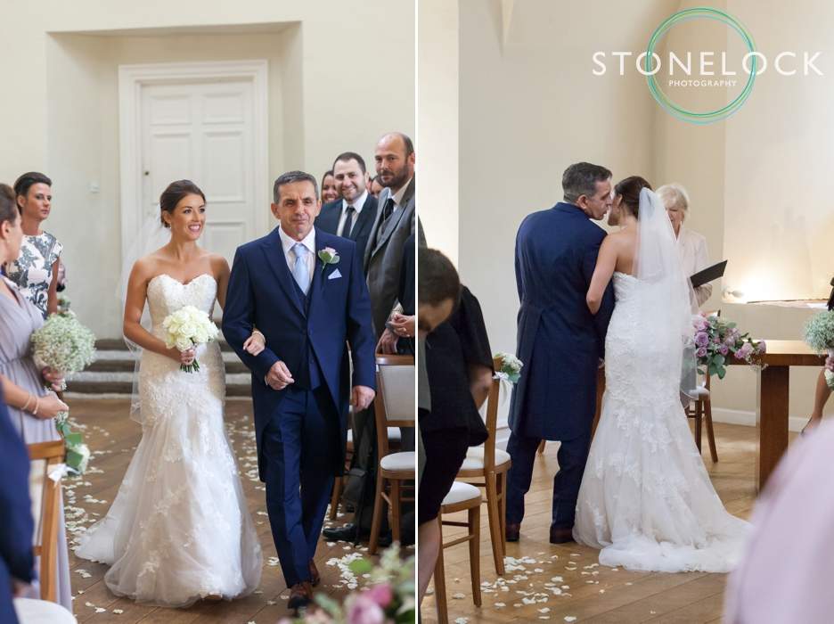 Farnham Castle, Surrey, Wedding photography, bride & her father walk down the aisle
