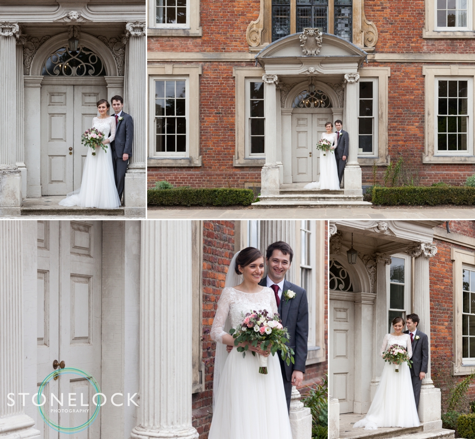 The bride and groom pose for photographs at a wedding reception at Forty Hall in Enfield, London