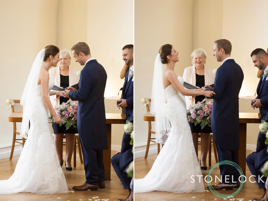 Farnham Castle, Surrey, Wedding photography, the bride & groom exchange rings