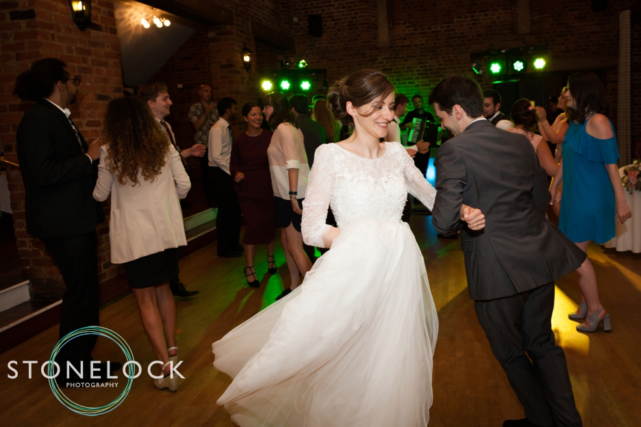 The Bride and groom dancing at the wedding reception at Forty Hall in Enfield, London