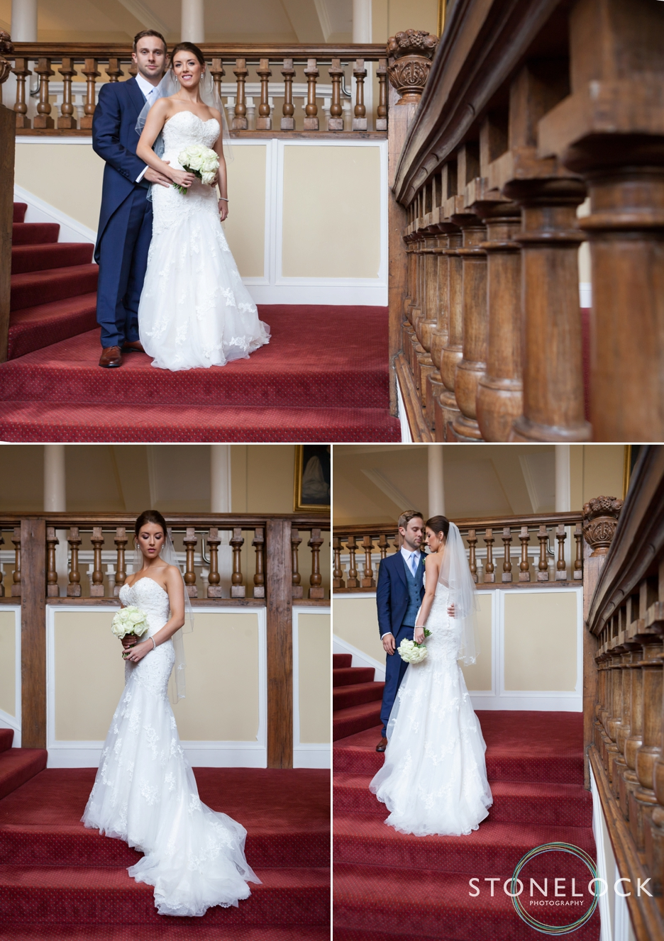 Farnham Castle, Surrey, Wedding photography, bride & groom portrait photo on stairs
