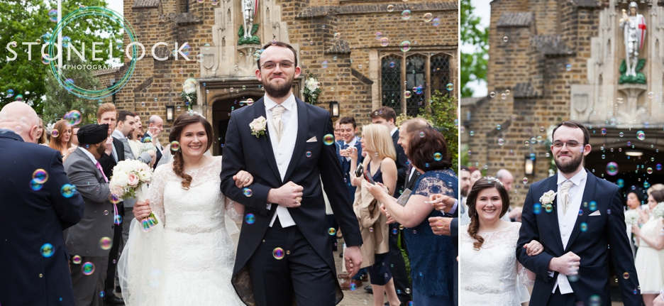 Wedding photography at St Georges Church in Wembley, London, the Bride & Groom leave to bubbles