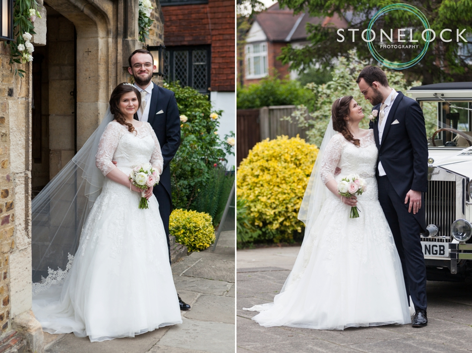 Wedding photography at St Georges Church in Wembley, London, the bride & groom pose outside for portraits