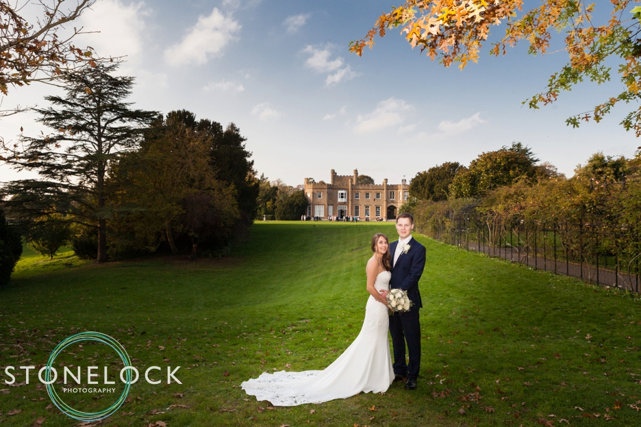 Bride and Groom at Nonsuch Mansions, Cheam, Surrey. Wedding Photography.