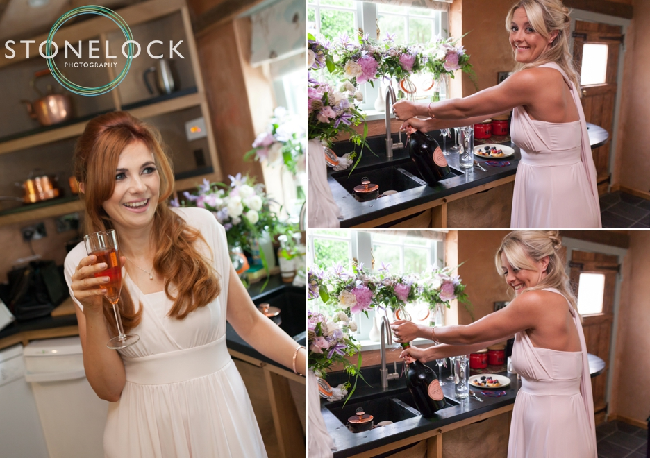 Wedding photography at Ridge Farm Studios, Dorking, Surrey. The bride getting ready.
