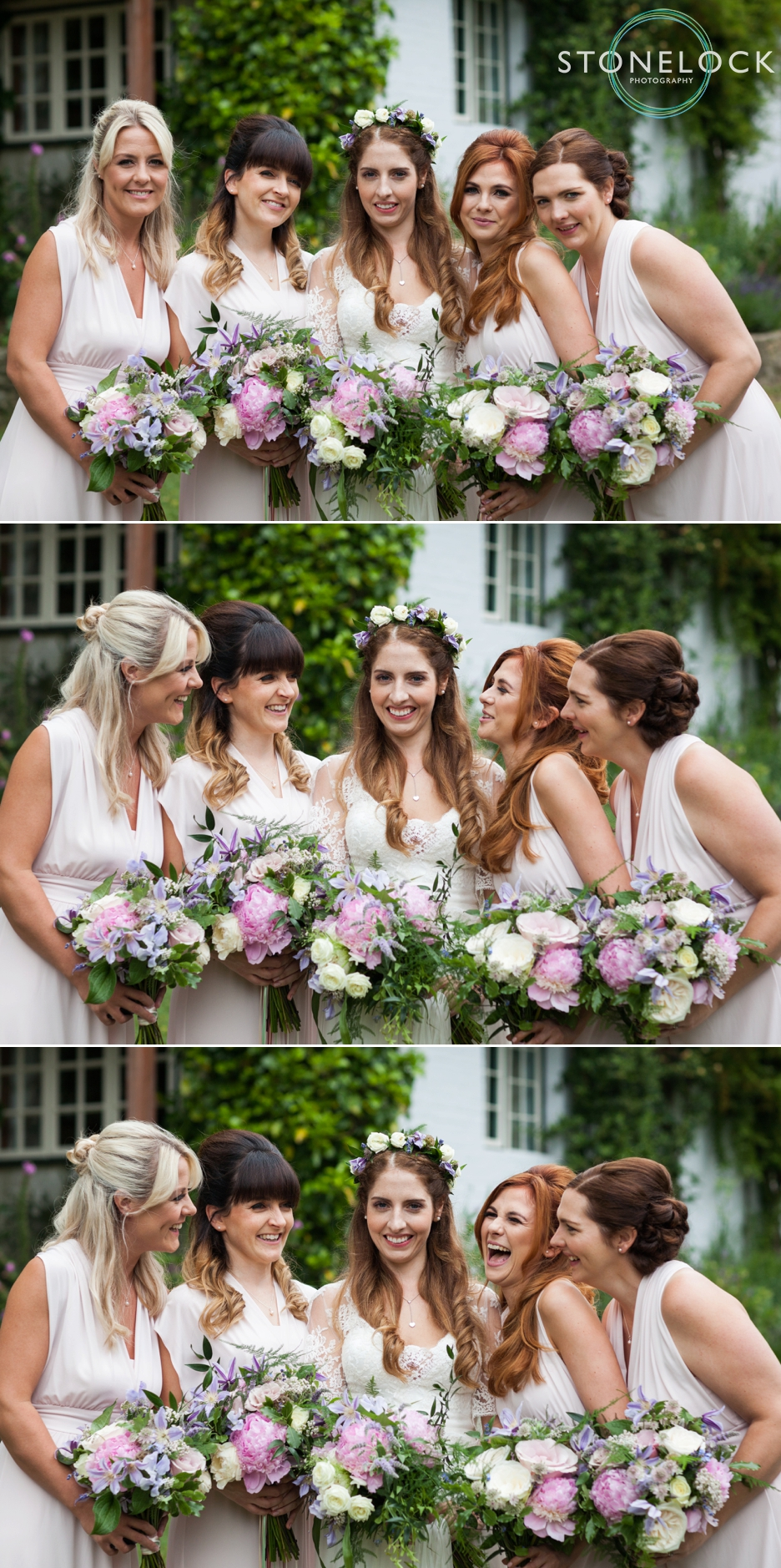 Wedding photography at Ridge Farm Studios, Dorking, Surrey. The bride & her bridesmaids.
