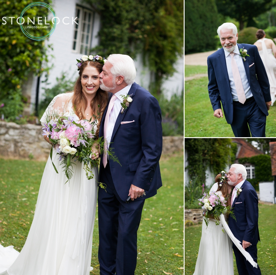 Wedding photography at Ridge Farm Studios, Dorking, Surrey. The father of the bride.
