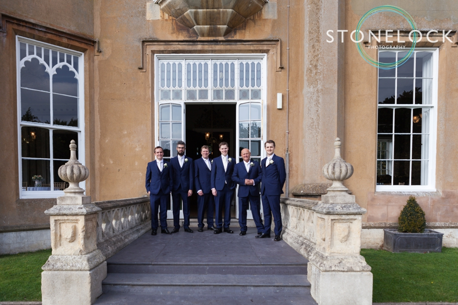 Groom and groomsmen at Nonsuch Mansions, Cheam, Surrey. Wedding Photography.