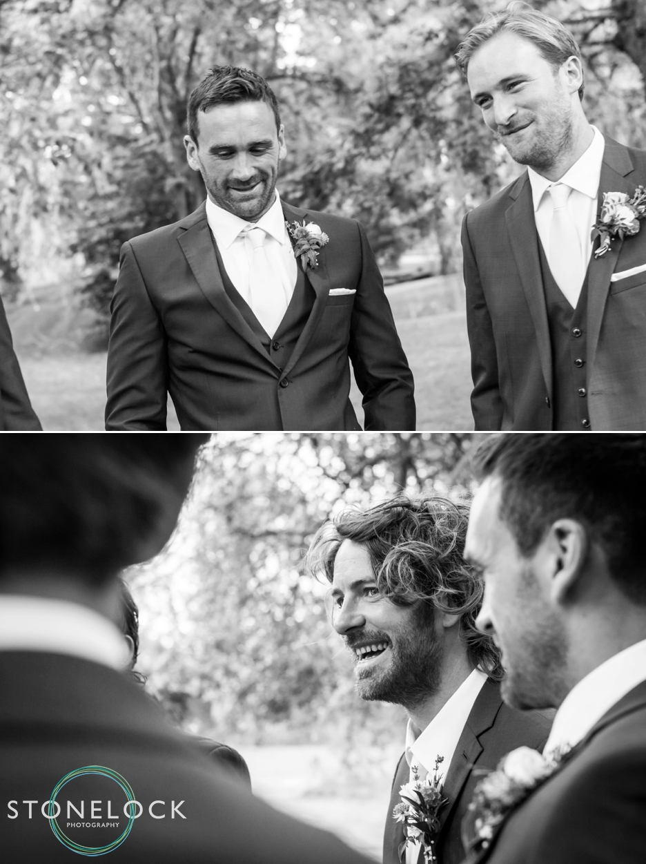 Wedding photography at Ridge Farm Studios, Dorking, Surrey. The groom & groomsmen.