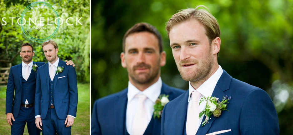 Wedding photography at Ridge Farm Studios, Dorking, Surrey. The groom and his best man.
