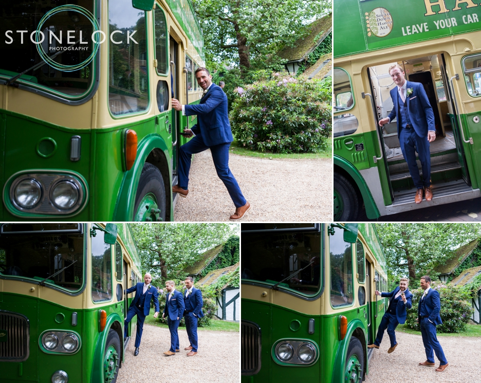 Wedding photography at Ridge Farm Studios, Dorking, Surrey. The groom & groomsmen travel on the wedding bus.