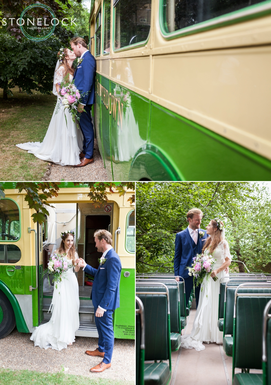 Wedding photography at Ridge Farm Studios, Dorking, Surrey, the bride & groom pose with their wedding bus!