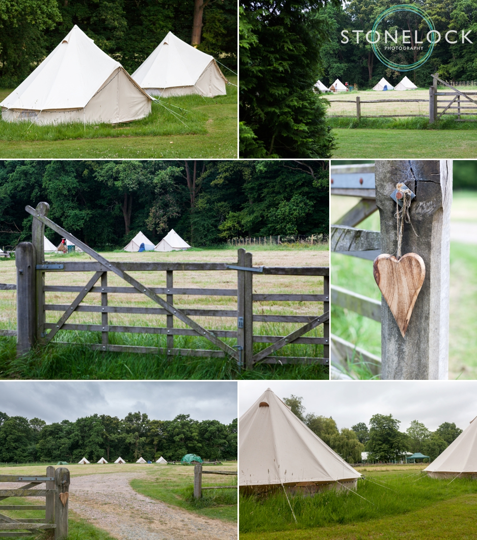 Wedding photography at Ridge Farm Studios, Dorking, Surrey. Camping at the wedding!