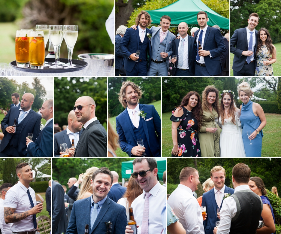Wedding photography at Ridge Farm Studios, Dorking, Surrey. The drinks reception.