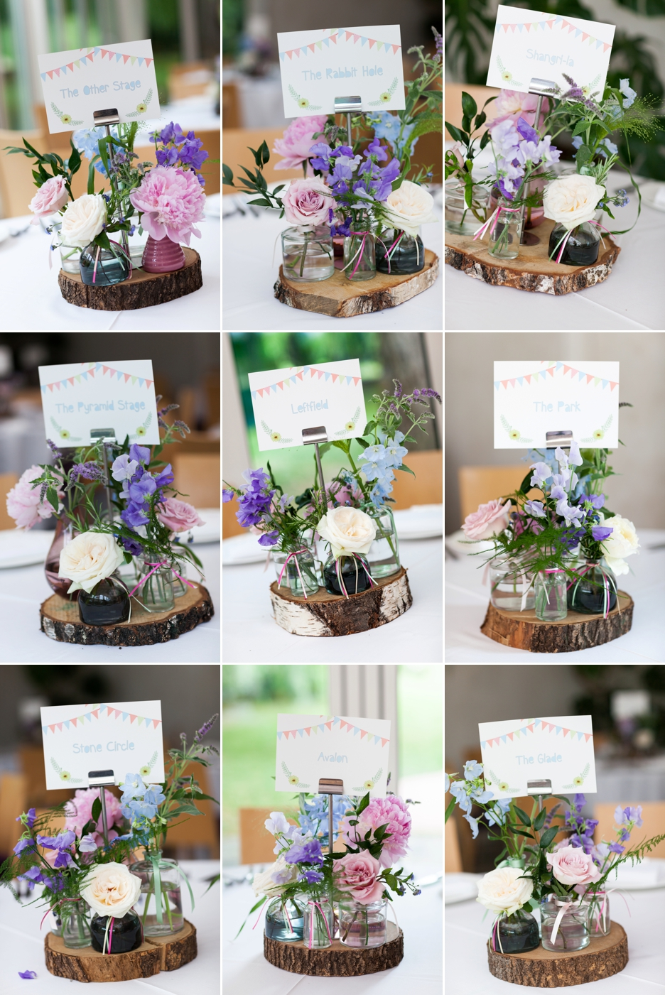Wedding photography at Ridge Farm Studios, Dorking, Surrey. Flowers & table decorations.