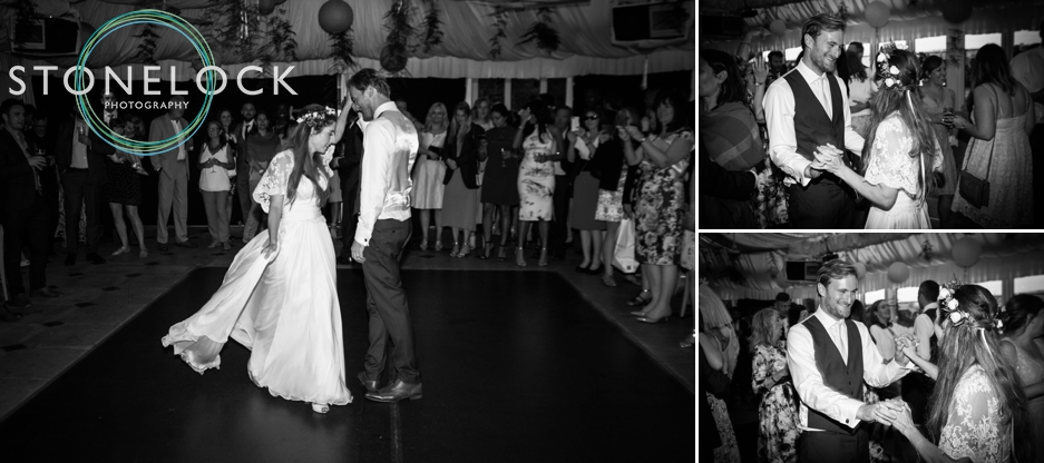 Wedding photography at Ridge Farm Studios, Dorking, Surrey. The bride & groom's first dance.