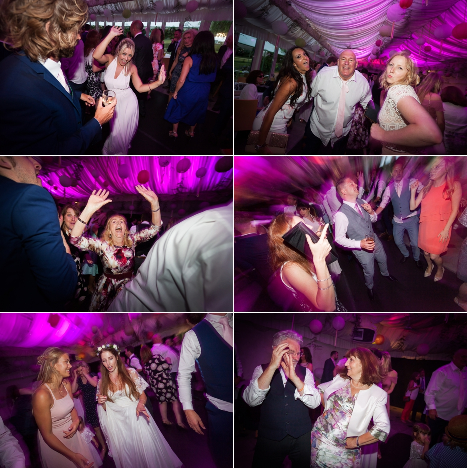 Wedding photography at Ridge Farm Studios, Dorking, Surrey. Dancing at the reception