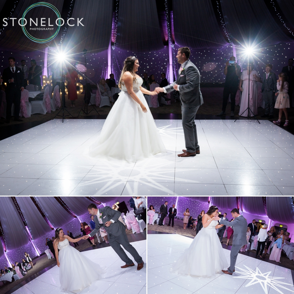 Bride & Groom's first dance at their wedding reception at Copthorne Effingham Park Hotel Surrey