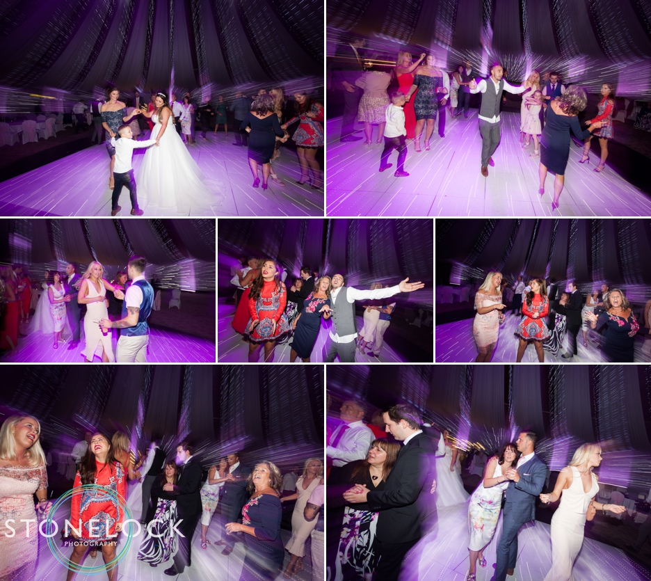 Dancing at the wedding reception at Copthorne Effingham Park Hotel Surrey