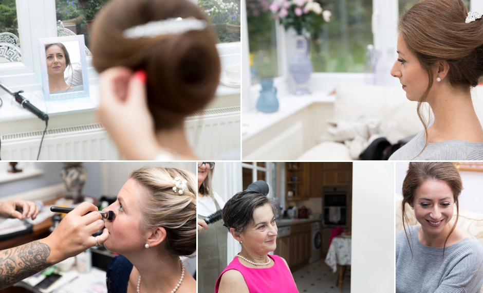 Bride getting ready, hair & make-up
