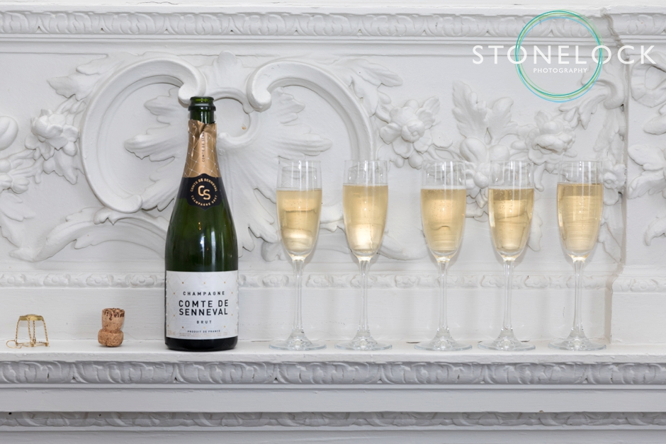 Glasses of champagne lined up at Morden Hall Weddings