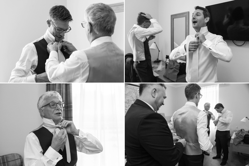 A groom & his groomsmen getting ready for the wedding