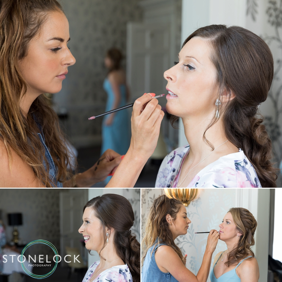 Bride having her make-up done at Morden Hall Weddings