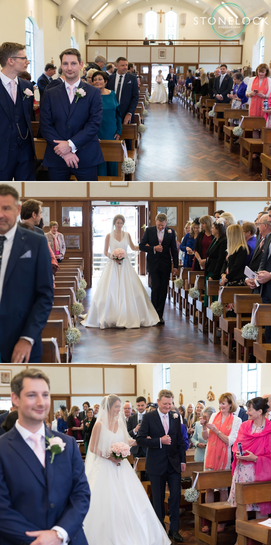 A bride walks down the aisle with her Dad at St John's Church, Tadworth