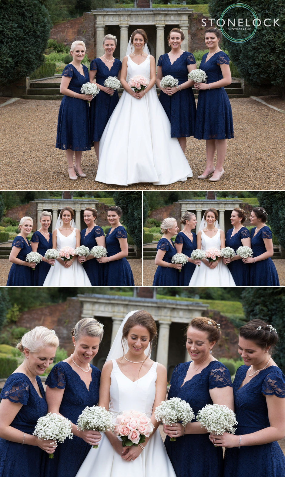 Wotton House wedding photography, the bride with her bridesmaids in the garden