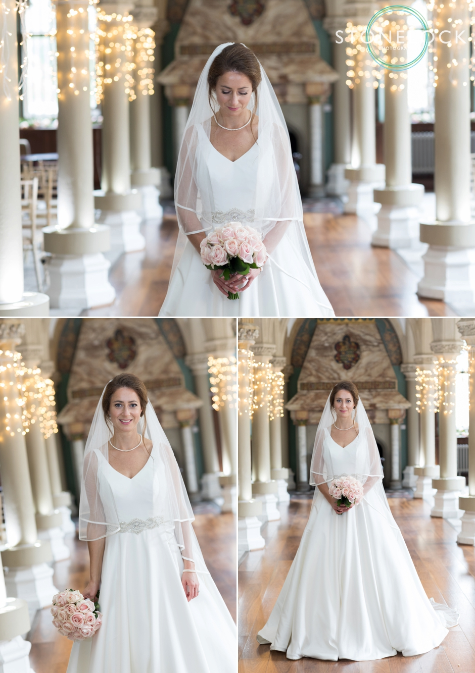 Wotton House wedding photography the bride in the old library