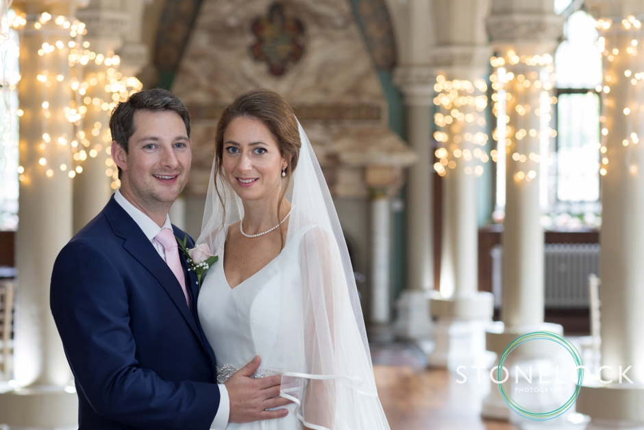 Wotton House wedding photography the bride & groom in the old library