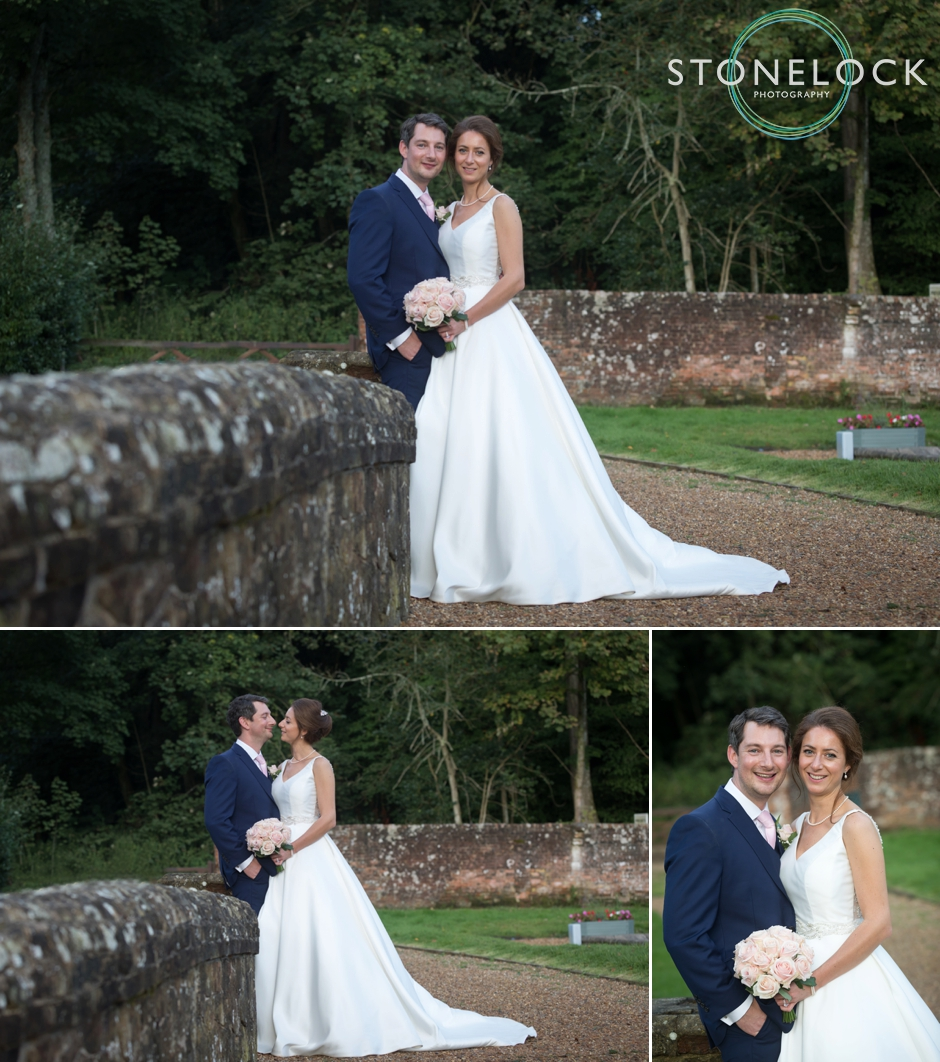 Wotton House wedding photography, bride & groom pose in the gardens