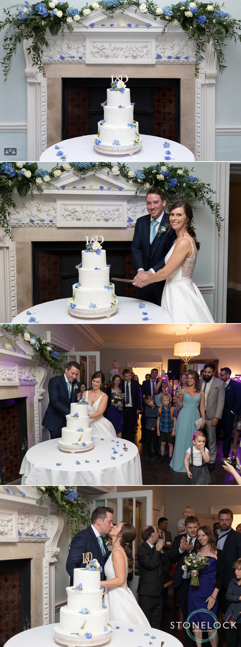Bride & Groom cut the wedding cake at Morden Hall Weddings